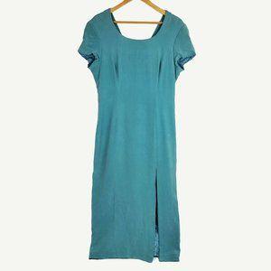 Adrianna Papell 100% Silk Short Sleeve Maxi Dress